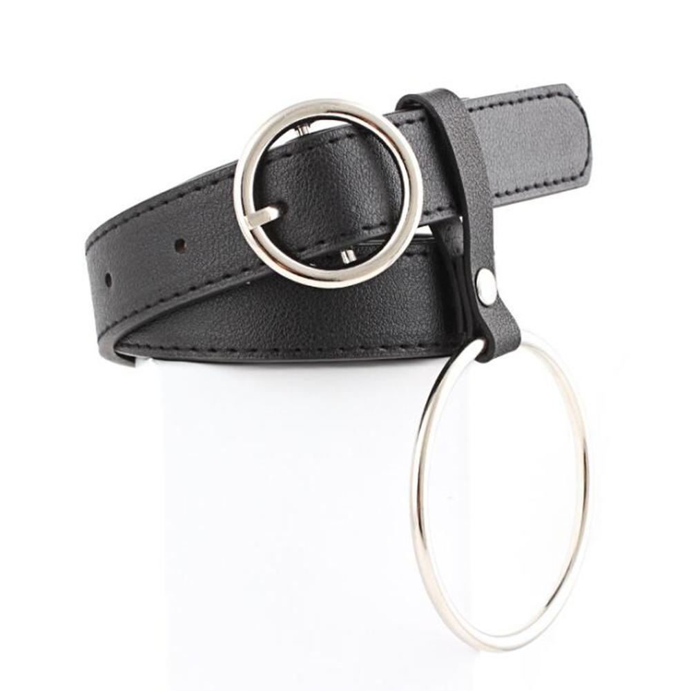 MISSKY Women Waist   Belt   Lovely Women's Big Ring Decorated   Belts   Female Hot Newest Gold Pin Buckle Solid PU Leather Strap