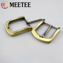 5PCS Meetee 4cm Metal Antique Brass Belt Buckle Solid Pin for Men Adjustable DIY Leather Craft Accessories F1-81