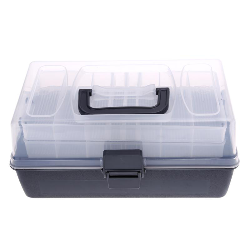 Fishing-Box Storage-Case Transparent-Cover Portable-Kit Plastic Clear Black Large 3-Layer