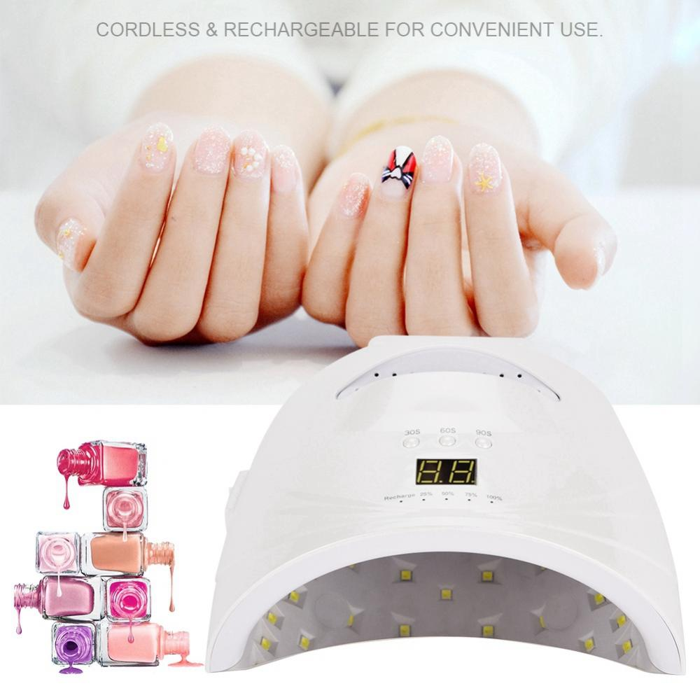 48W Nail Dryer UV LED Nail Lamp Gel Polish Curing Light with Bottom 30s/60s/90s Timer LCD Display Lamp for Nails Nail Dryer noq smart sensor nail lamp with battery 48w uv led nail light dryer for curing all type gel polish with timer button 10s 30s 60s