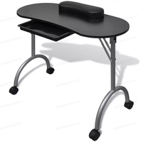 Vidaxl Foldable Manicure Table With A Thick Wrist Pillow 4 Lockable Wheels Nail Tables Professional Commercial Furniture