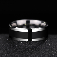 Saya Brand High Polished Man's Black Ring Tungsten Carbide Band Inlay Black Silicon 5mm/8mm Width US size 5 11 Free Engraving