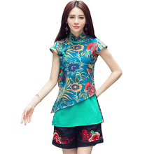 2019 Ethnic Style Floral Print Blouse Women Summer Vintage Stand Collar Short Sleeve Loose Blouses Female Shirts Tops Plus Size retro style short sleeve round collar loose floral print dress for women