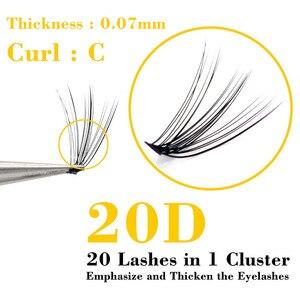 Image 3 - Kimcci 60 รวมกลุ่ม Mink Eyelash EXTENSION ธรรมชาติ 3D รัสเซีย Faux ขนตาแต่ละ 20D Cluster Lashes แต่งหน้า Cilia