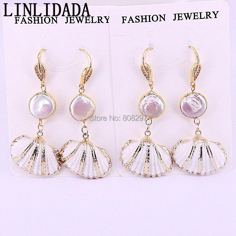 5Pairs New arrival pearl shells earrings fan shape shell fashion earrings women seashell pearl earring wholesale