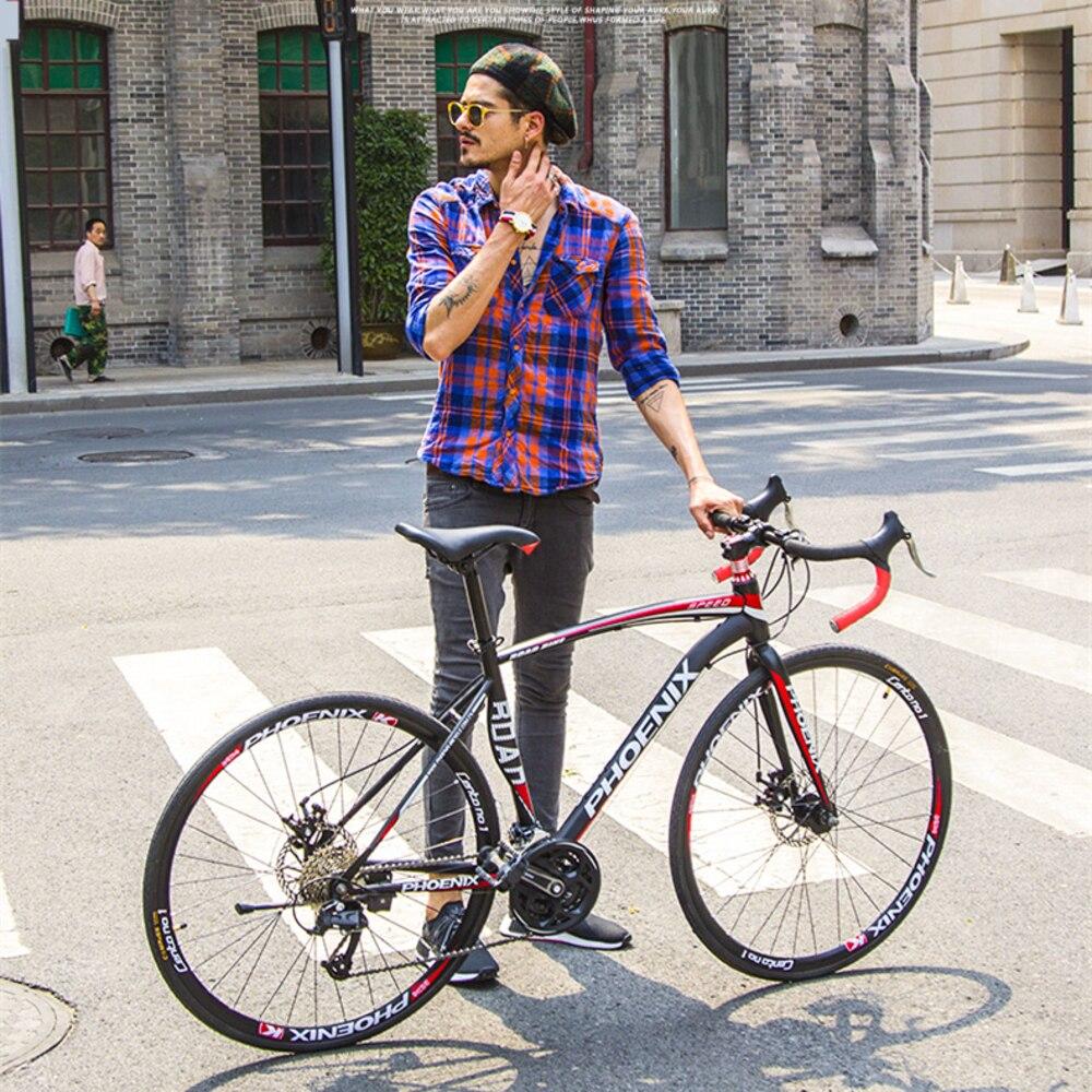 Nouvelle marque 700cc 18/21/27 vitesse en acier au carbone 52 cm cadre courbure poignée vélo de route en plein air Bicicleta vélo de course
