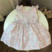 summer girls flower dresses pink toddler baby ruffles fashion dress suspenders kids for clothing boutiques holiday