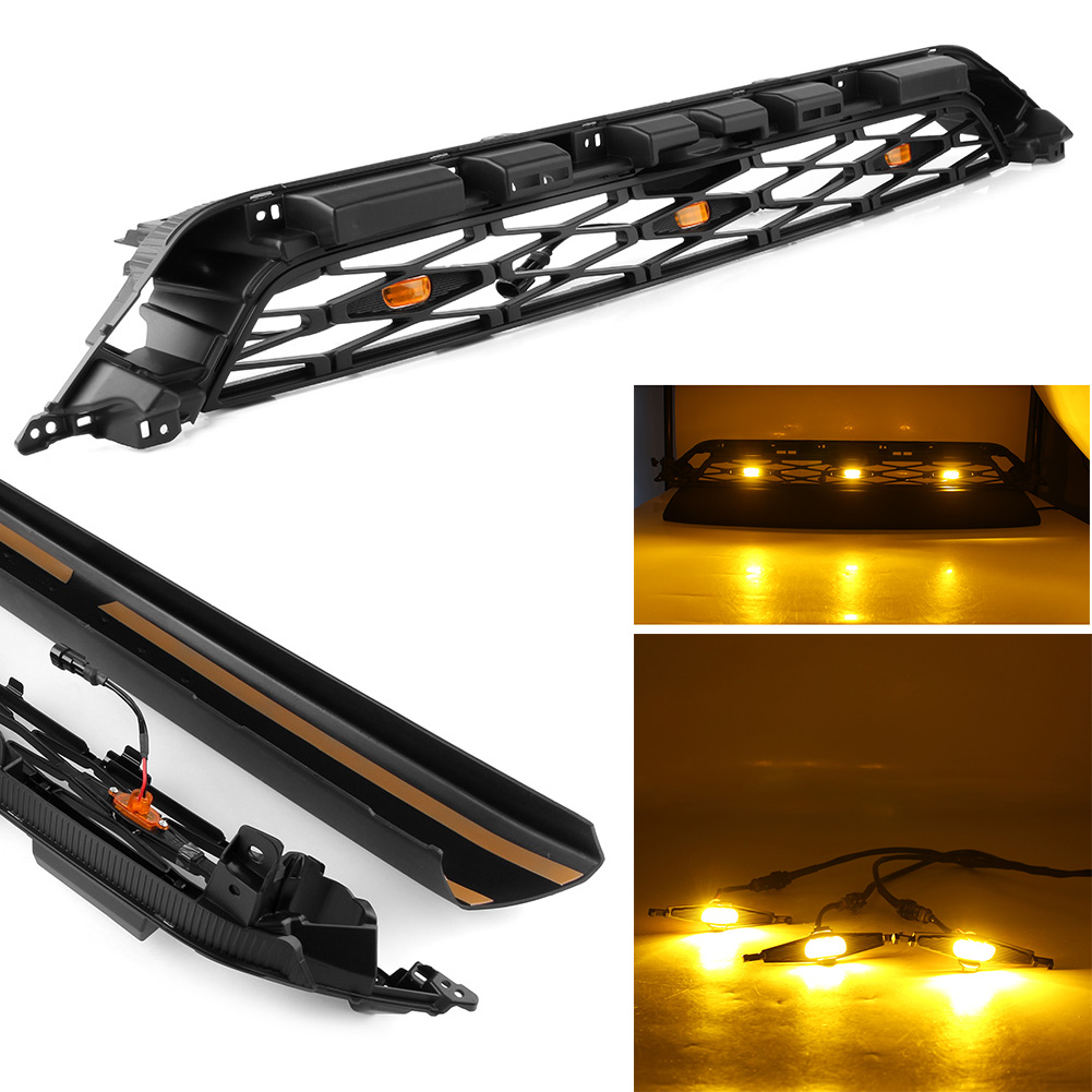 Car Amber Lights Front Grill ABS Upper Grille For <font><b>Toyota</b></font> <font><b>4Runner</b></font> TRD Pro 2014 <font><b>2015</b></font> 2016 2017 2018 2019 Auto Parts with logo image