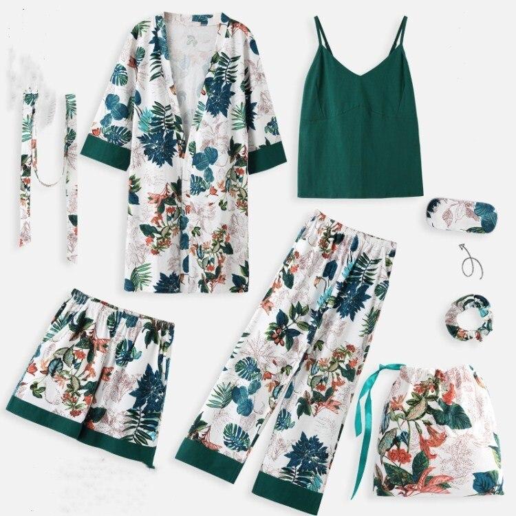 Ensemble de pyjama printemps automne imprimé Floral vert femmes décontracté Simple mince Homewear