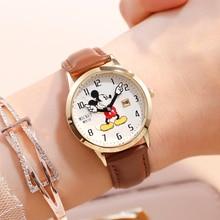 Disney relógio infantil, relógios infantis, de marca genuína, relógio de luxo, mickey, relógio de pulso de quartzo, moda casual bonito, de couro