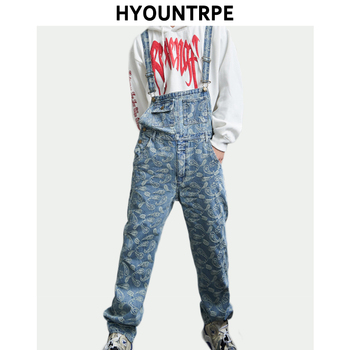 Hip Hop Denim Suspender Trousers 2019 Spring Mens New Fashion Embroidery Denim Jeans Jumpsuit Loose Straight Casual Pants