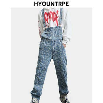 Hip Hop Denim Suspender Trousers 2019 Spring Mens New Fashion Embroidery Denim Jeans Jumpsuit Loose Straight Casual Pants - DISCOUNT ITEM  35% OFF All Category