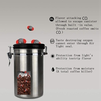 קפה קמח סוכר נירוסטה מיכל דילי מטבח אחסון מיכל ואקום Co2 שסתום אטום קפה מיכל אחסון|בקבוקים צנצנות וקופסאות|בית וגן -