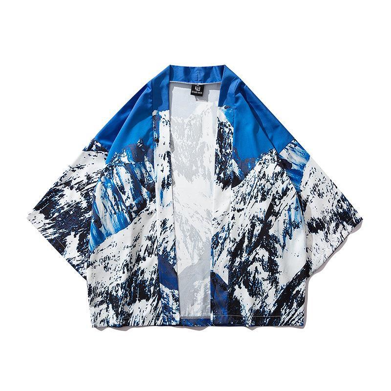 2019 mode 3D impression numérique kimono robe japon style personnalité populaire encre peinture demi manches vêtements t-shirt