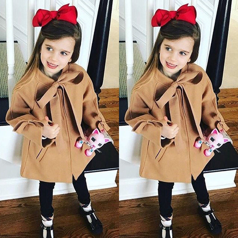 Pudcoco Girl Clothes Toddler Kids Baby Girls Winter Warm Bowknot Coat Overcoat Outwear Jacket Parka