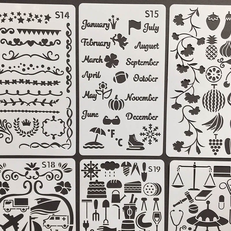 Geometry Flowers Walls Stencil Kids Painting Decor Letters Animals Stencils For Diy Scrapbooking Albums Diary Stamp Crafts Gift