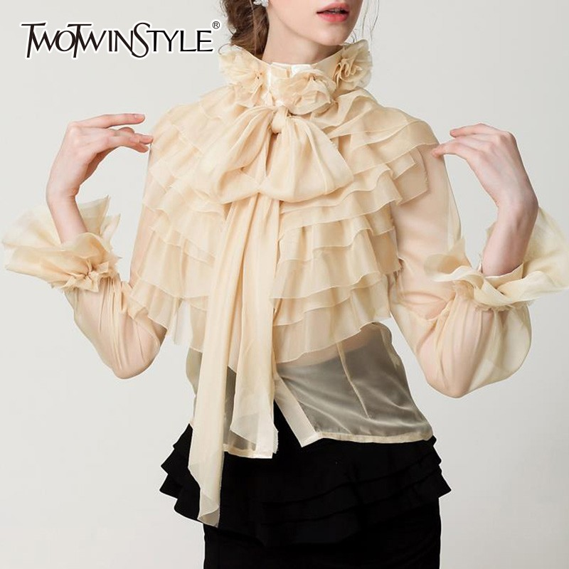 TWOTWINSTYLE Perspective Tops Female Bowknot Flare Long Sleeve Ruffle Shirt Blouse Women Korean Fashion Clothes 2020 Spring