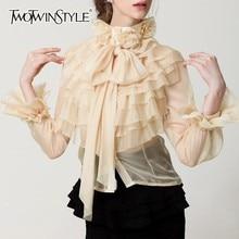 Ruffle Shirt Tops Blouse Women TWOTWINSTYLE Long-Sleeve Korean-Fashion Female Bow Flare