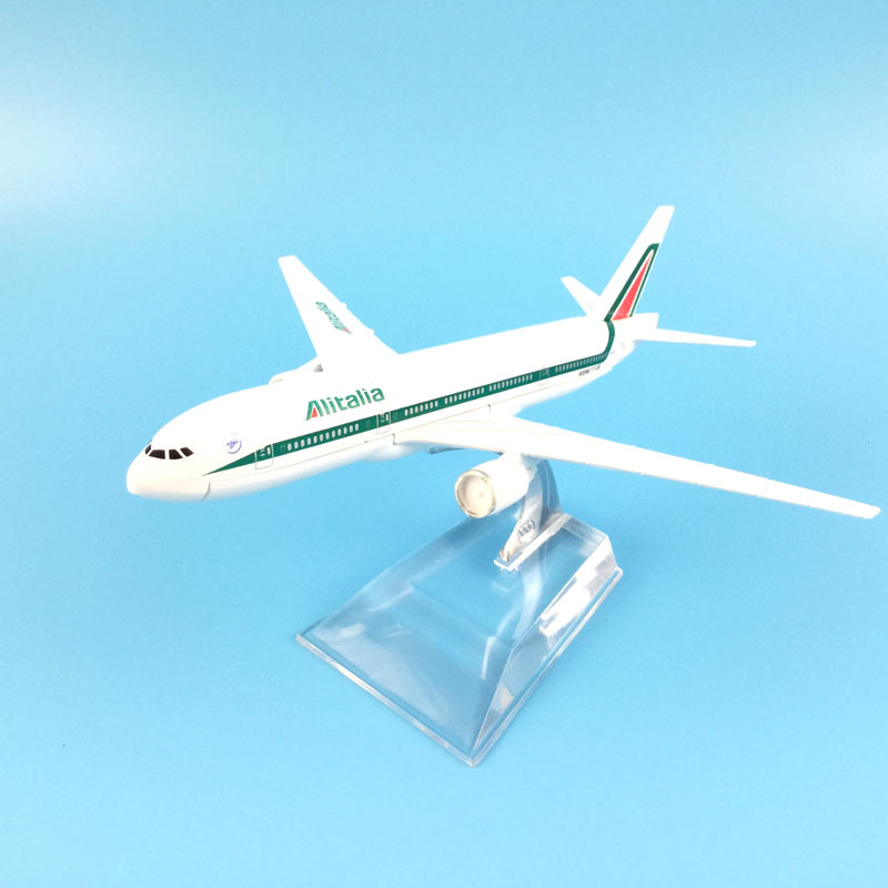 16cm Alitalia Boeing 777 Airplane Model Plane Aircraft Model Diecast Metal Airplanes Model 1:400 Plane Toy Gift Free Shipping