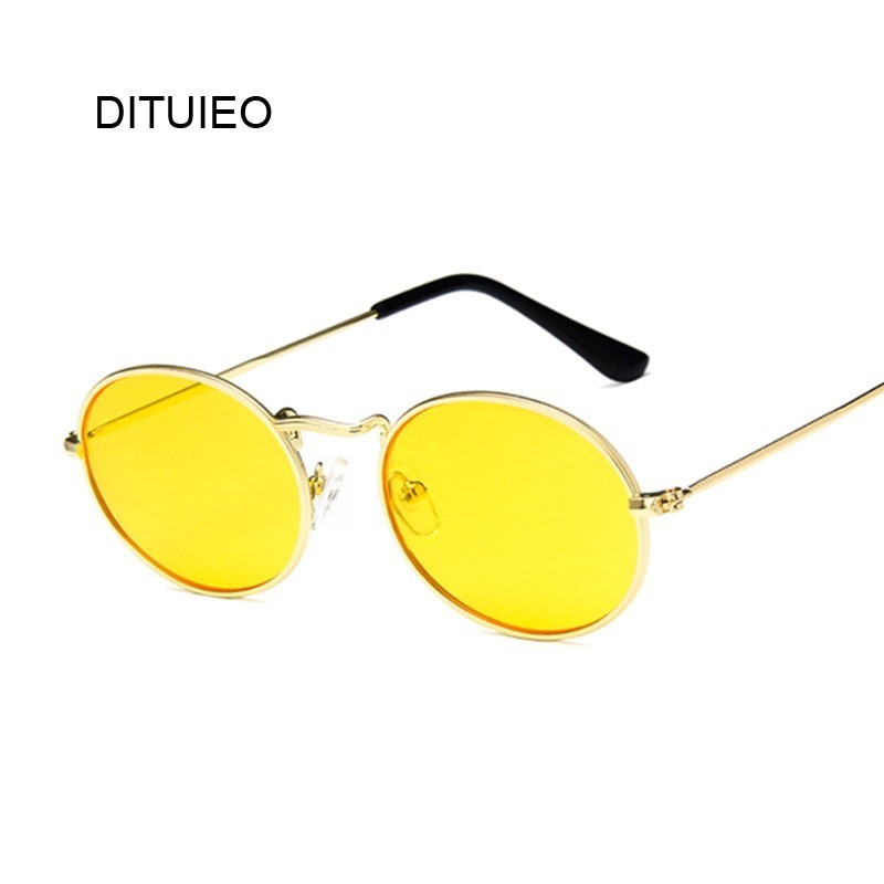 Fashion Women Sunglasses Famous Oval Sun Glasses Female Luxury Brand Metal Round Frames Yellow Small Cheap Eyewear Oculos