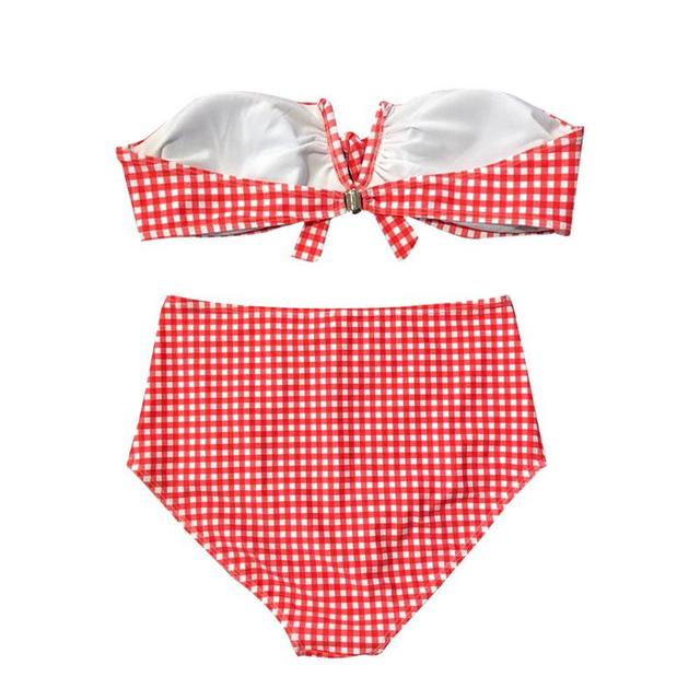 d763c5f2ac2ea 2019 Sexy Pink Plaid Women's High Waisted Bikini Set Off Shoulder Two Piece  Swimsuits Gingham Tie