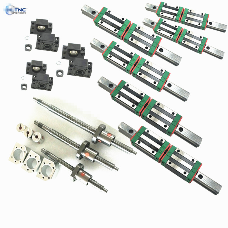 3SET  LIEAR RAILS HR15 HGR15 300/400/400mm with  HGH15CA  +3 ball screws RM1605 350/450/450mm+3BK/BF12 +3 couplers for cnc kit-in Linear Guides from Home Improvement    1