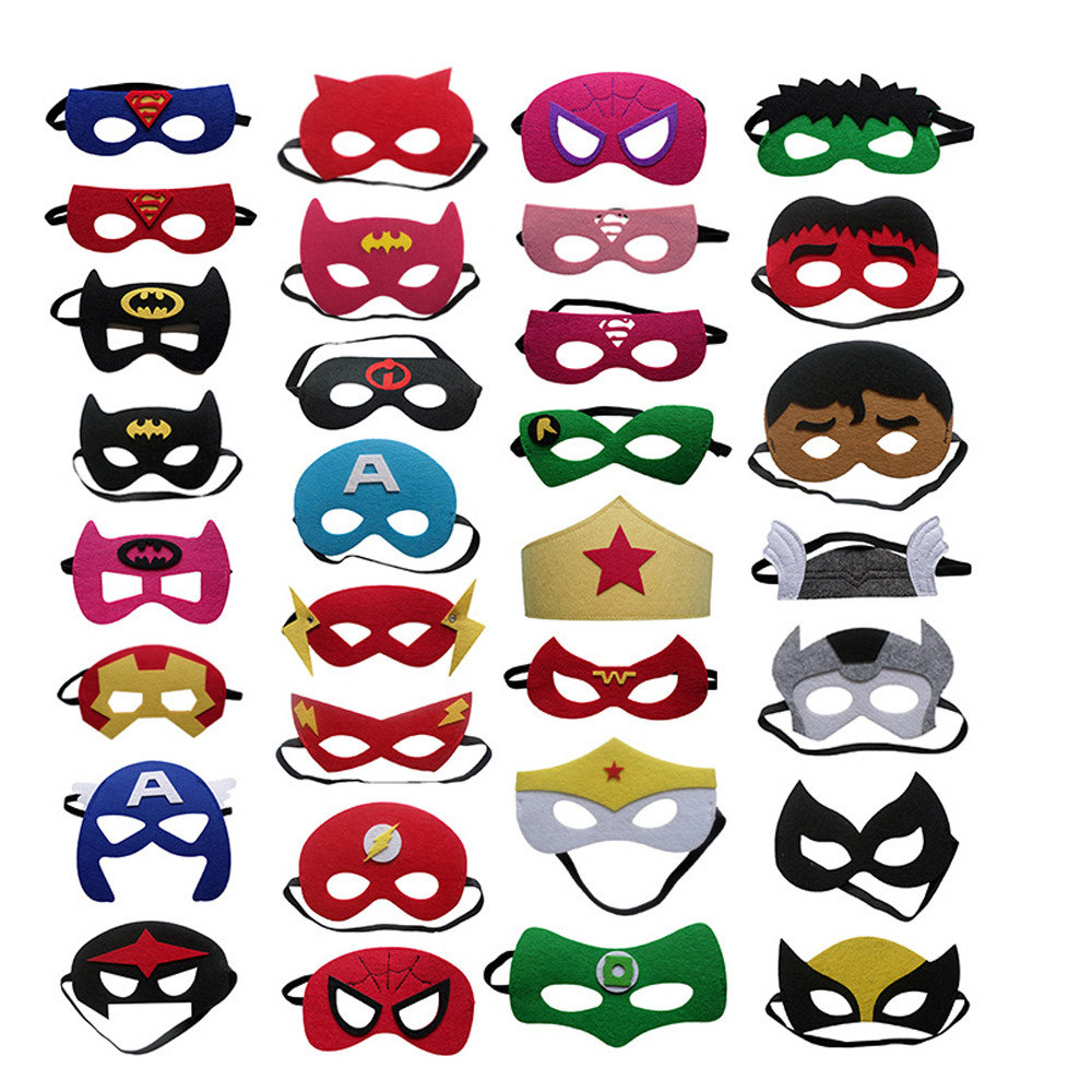 Wholesales 20pcs/lot Super Hero Cosplay Mask Halloween Party Dress up Costume Mask Kids Birthday Party Superhero Cos Favor Gifts-in Party Masks from Home & Garden