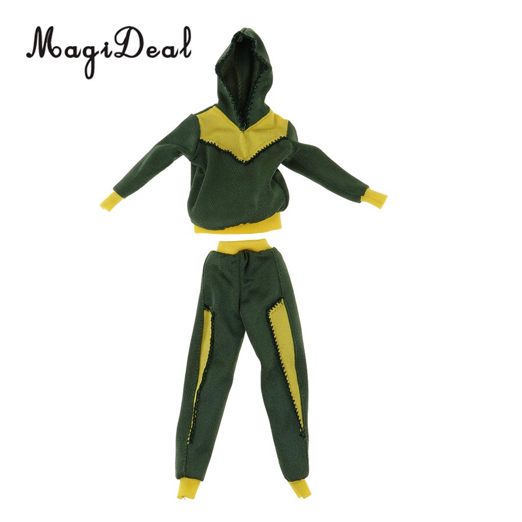 16 Stylish Sports Costume Set Green Printed Hooded Pullover Tops T-shirt & Sports Trousers Pants For Blythe Doll Accessory