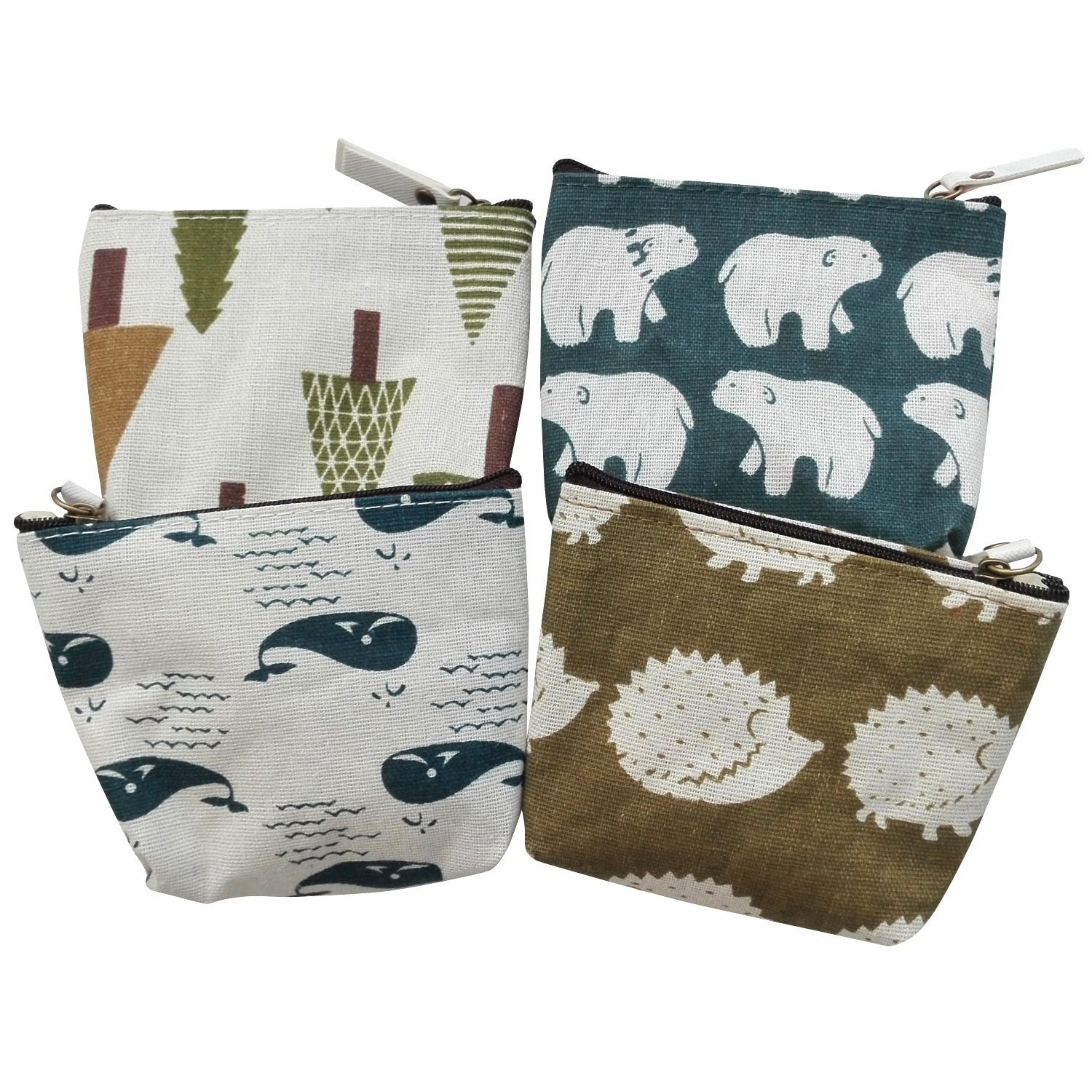 Canvas Change Coin Purse Bag Gift with Zip and Liner (Set of 4 Animal)