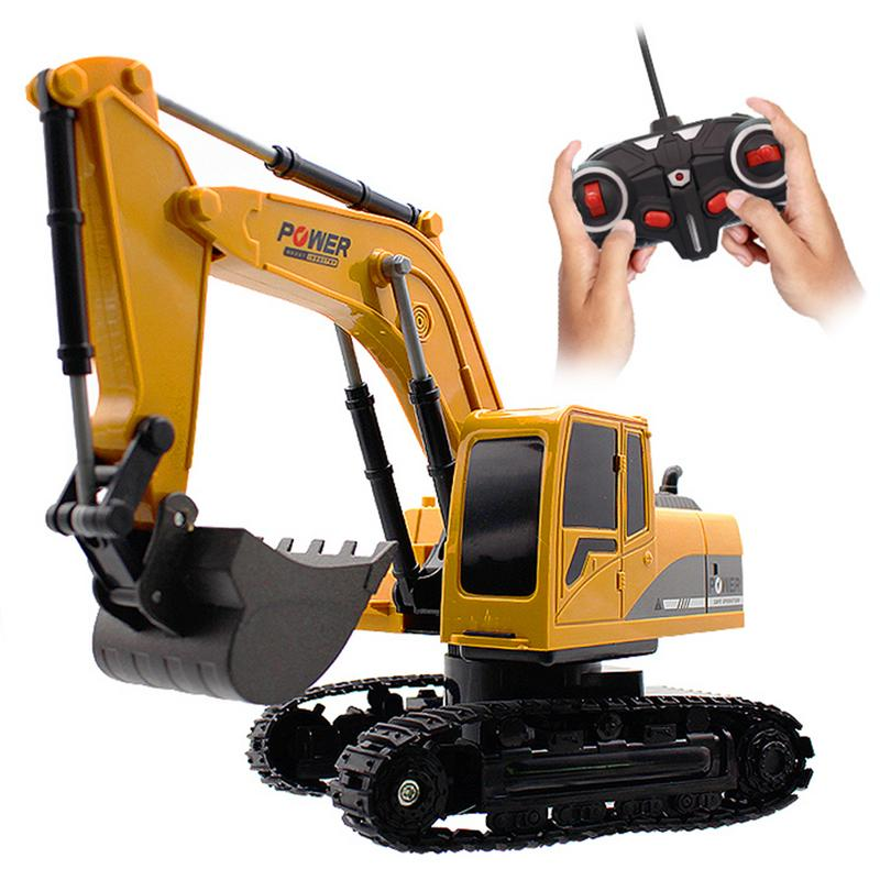 6 Channel Alloy Excavator 1:24 Wireless RC Excavator Children's Puzzle Remote Control Construction Vehicle Charging Toy