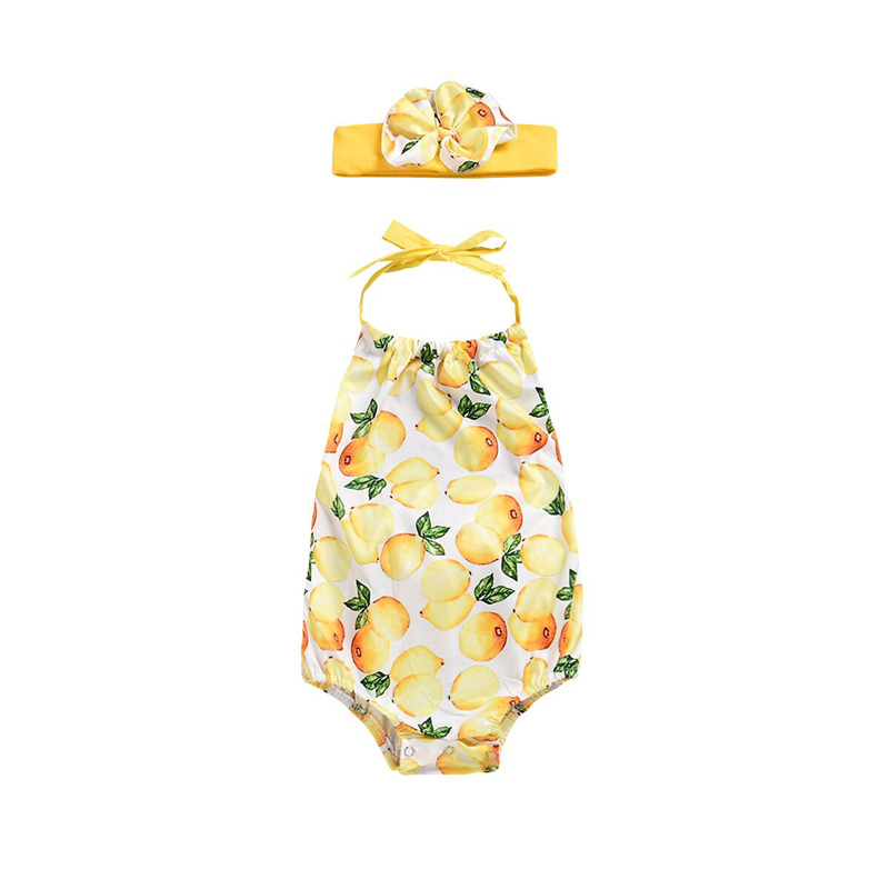 Focusnorm Newborn Headband Infant Baby Girl Floral   Romper   Print Mango Jumpsuit +Headband Clothes Outfit 0-24M