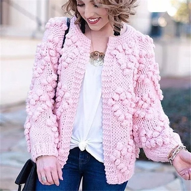 Pink Knitted Cardigan Women Sweater Winter Spring 2019 New Fasion Cashmere Cardigans Women Tops Long Slleve Ladies Jumpers