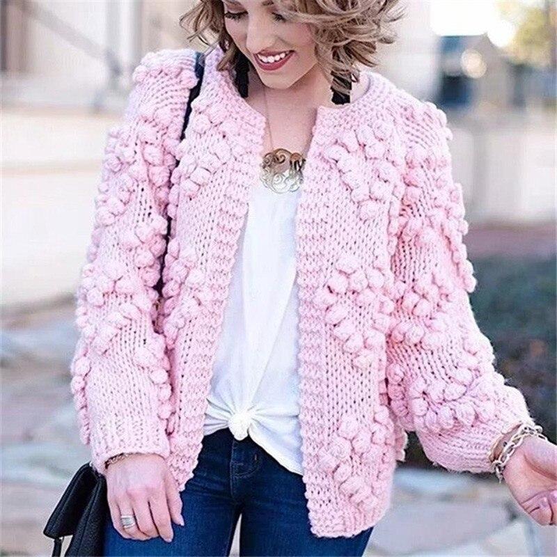 Rose tricoté Cardigan femmes à manches longues automne chandails femmes hiver 2019 mode cachemire Cardigans haut pour femme dames pulls