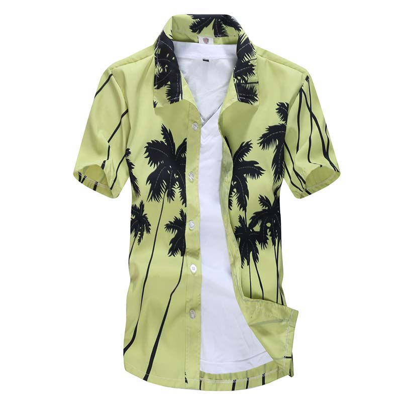 Hawaiian Men's Shirt Coconut Tree Print Beach Male Flower