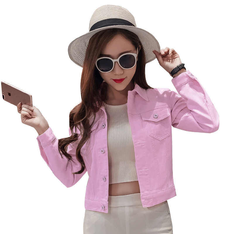BOoDinerinle Autumn Pink Denim Jacket Women Candy Color Green White Black Cowboy 2019 Sweet Short Female Coat Casual Cotton Jean