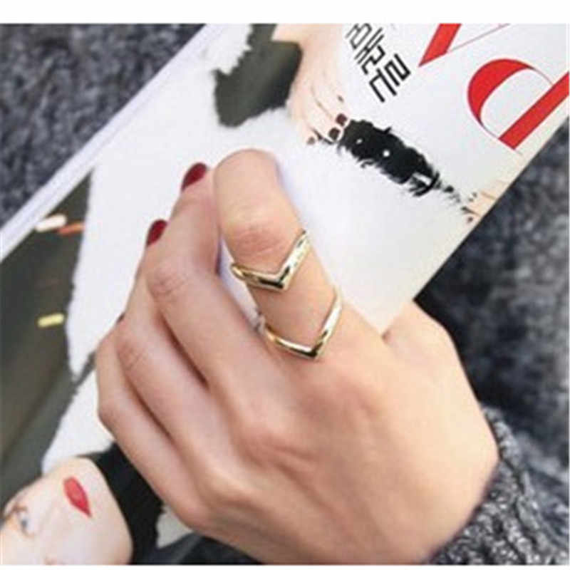 2018 Fashion Gold Rings For Women Double V Shape Double-deck Finger Ring For  Men Silver Plated Rings Women Jewelry Wedding Ring