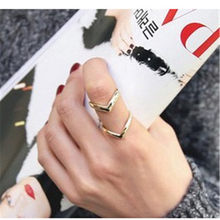 2018 Fashion Gold Rings For Women Double V Shape Double-deck Finger Ring For Men Silver Plated Rings Women Jewelry Wedding Ring(China)