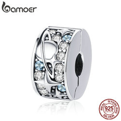 BAMOER Authentic 925 Sterling Silver Star Moon Planet Beads Clip Charms Fit Charm Bracelet Necklaces DIY Jewelry Making SCC985
