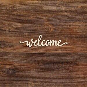 10 шт. Добро пожаловать деревянный знак Добро пожаловать деревянный вырез вырезанный дом фермерский дом украшение деревенский настенный Де...