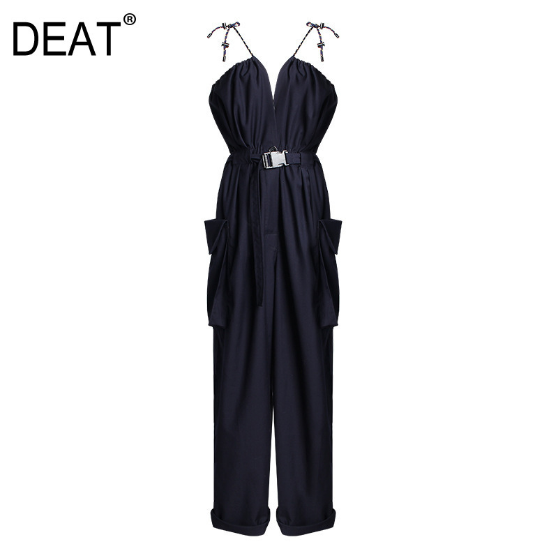 Women's Clothing 2019 New Spring Summer High Waist Pocket Bandage Stitch Two Ways Wear Loose Wide Leg Pants Women Jumpsuit Fashion Jt20 Aromatic Character And Agreeable Taste deat