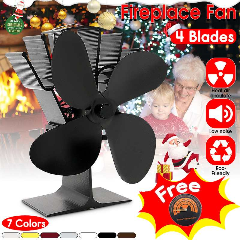 Efficient Heat 4 Blades Heat Powered Stove Fan With Thermometer Log Wood Burner Eco Fan Quiet Home Fireplace FanEfficient Heat 4 Blades Heat Powered Stove Fan With Thermometer Log Wood Burner Eco Fan Quiet Home Fireplace Fan