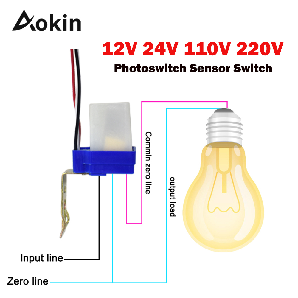 aokin automatic on light switch dc ac photo control sensor