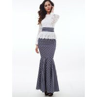 Women Maxi Dresses Elegant Vintage Party White Spring Mermaid Stand Collar Polka Dots Falbala Lace Female Retro Fashion Dress