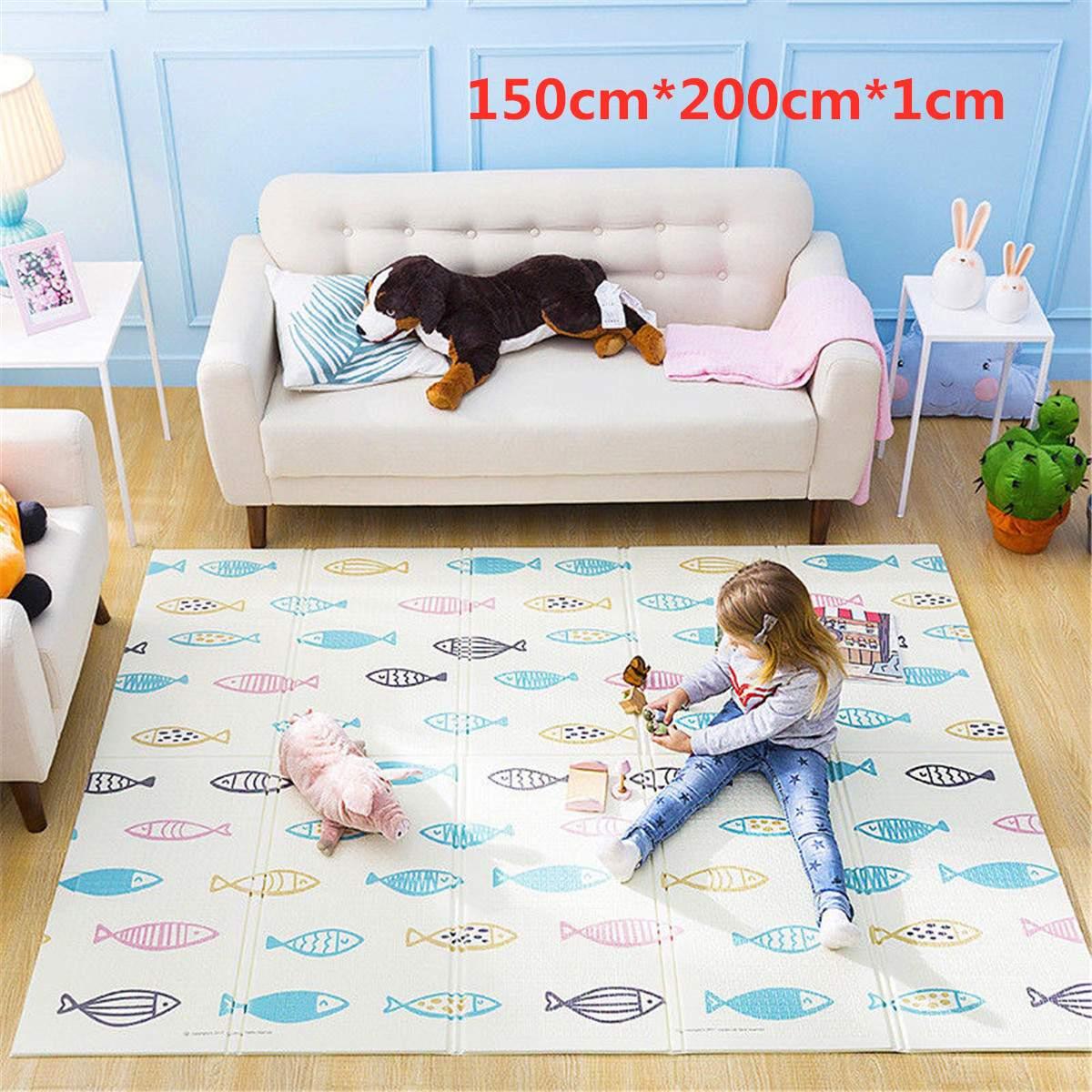 150x200x1 cm Pliable Bébé tapis de jeu Infantile Brillant Bébé tapis de jeu Bébé de Bande Dessinée Enfants Puzzles Tapis Tapis en la Pépinière Jouer