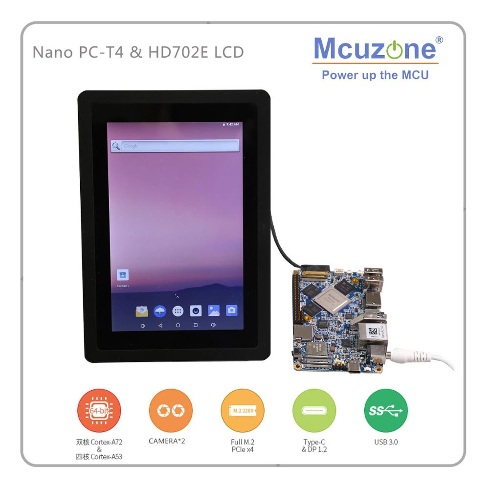 FriendlyELE NanoPC-T4 HD702E Rockchip RK3399 Cortex-A72 Cortex-A53 VR AI OpenCV TensorFlow MIPIDual Band Wifi M.2PC EC20 4G EMMC