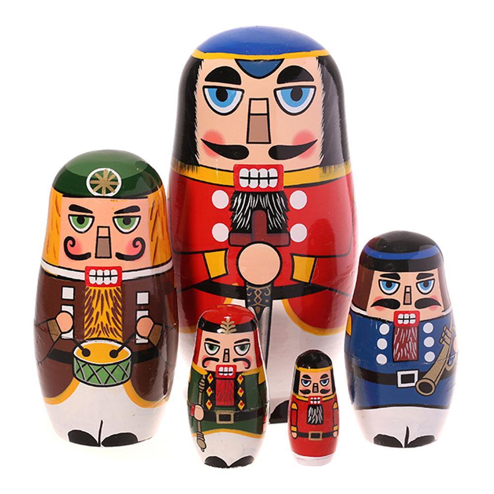 5Pcs Panda Russian Matryoshka Dolls Nutcracker Nesting Dolls Wooden Nesting Russian Doll Home Table Decor Craft Statues & Sculptures     - title=
