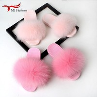 Fur slippers women summer word drag fox fur leather and fur women's shoes flat bottom comfortable slip home slippers women T#5