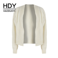 HYH HAOYIHUI Solid Color Simple Plain Loose Coat Hollow Thick Lines Outline Regular Long-sleeved Sweater