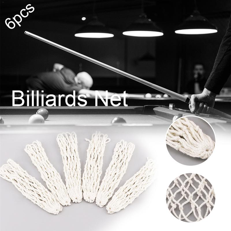 6Pcs/Pack White Billiards Pool Mesh Snooker Table Mesh Cotton Net Bags Pockets Club Kit Professional Snooker Billiard Accessory