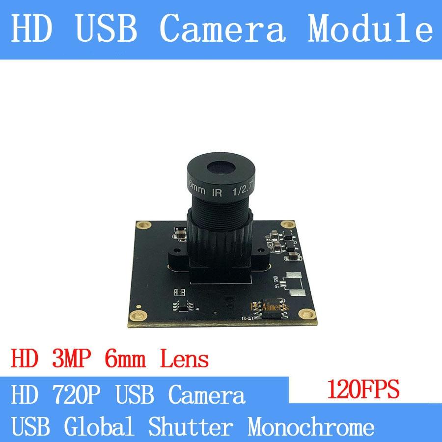 120FPS Monochrome USB Camera Module Global Shutter High Speed OTG UVC Linux USB 720P Mini cctv